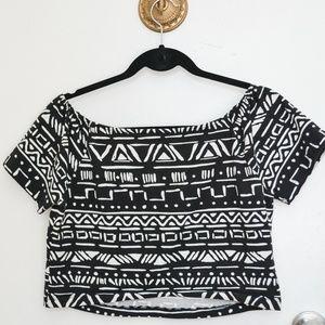 Black & White Off the Shoulder Crop Top